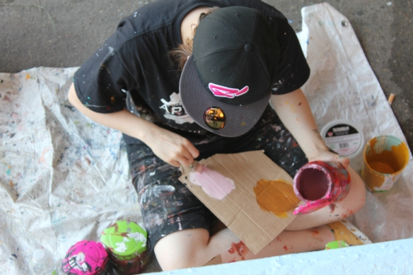 Katherine working on the Art Starts Community Mural