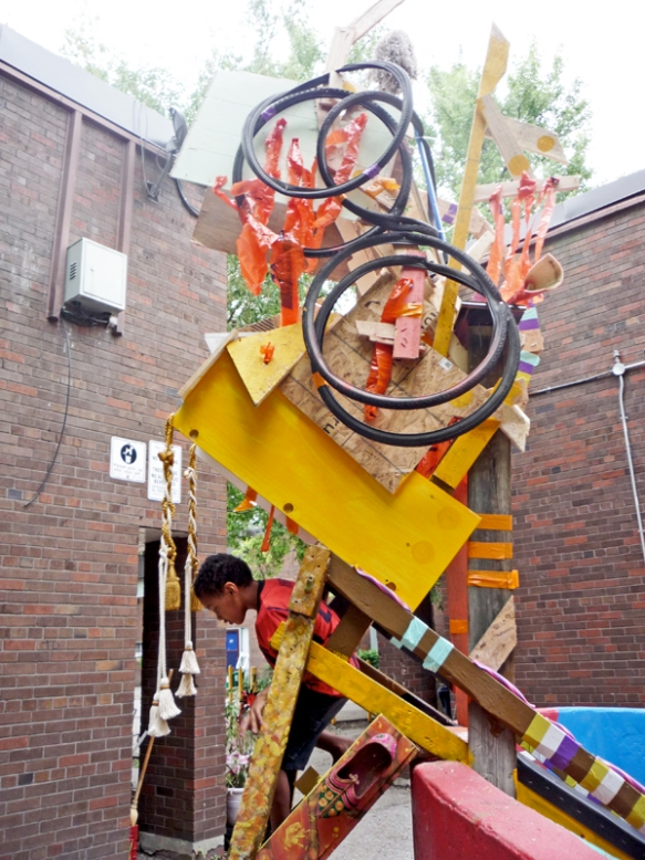 A jungle gym in the Atkinson Housing Co-op made out of found objects by the Youth Street Art Mentorship team.