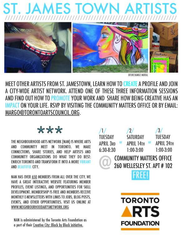 Free Info Sessions for artists of St. James Town